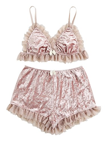 DIDK Women's Lace Trim Velvet Bralette and Shorts Pajama Set Pink S