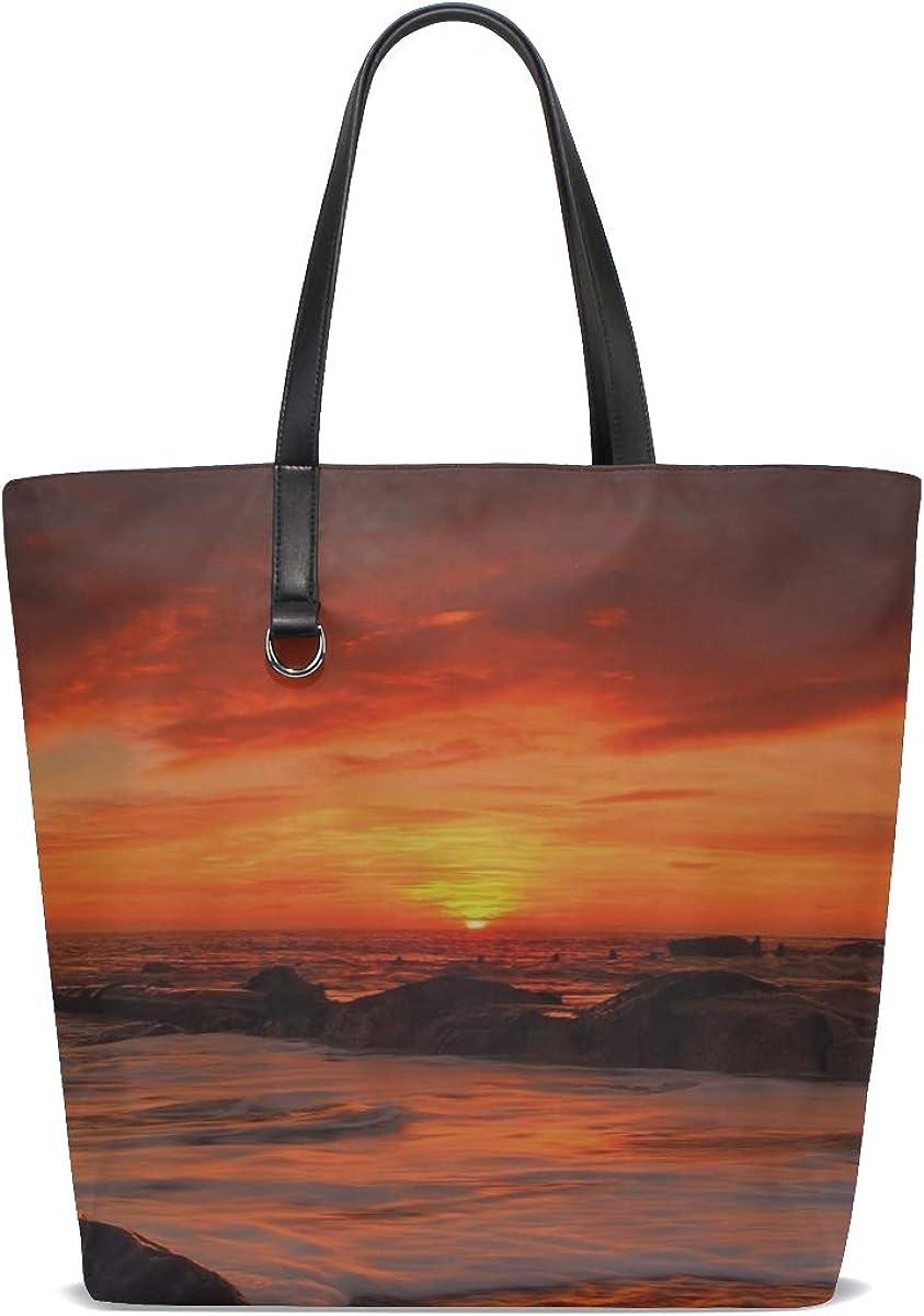 Sea Waves Rocks Beach Sunrise Tote Bag Purse Handbag For Women Girls