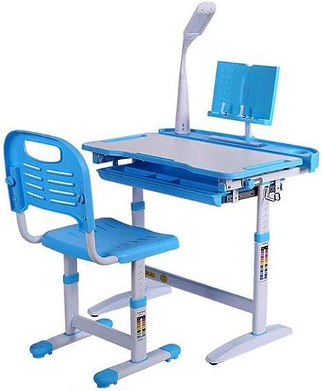 Scrivania da studio per bambini regolabile in altezza set di sedie da scrivania per bambini Scrivania per studenti con supporto di lettura e lampada di protezione per gli occhi per ragazze Rosa