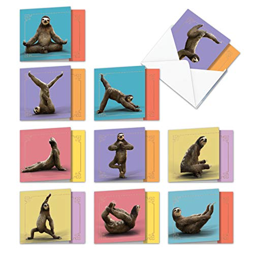 """AMQ6255TYG-B1x10 Sloth Yoga: 10 Assorted Thank You Cards Featuring Images of Relaxing Sloths Stretching Out with Envelopes Size: (4 ¾"""" x 6 5/8"""")"""