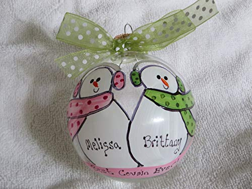 Cousins Ornament - Best Cousin Ever - Personalized, Hand-Painted Christmas ornament
