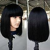 """Fanshow Brazilian Glueless Human Hair Bob Wig with Bang Yaki Machine Made Short Wigs (12"""", #1b)"""