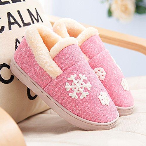 Y-Hui caldo inverno nella femmina scarpe Casa Arredamento Pantofole spessa di slittamento caldo cotone pantofole gli amanti del maschio,44-45 (Fit per 43-44 piedi),Peach Red