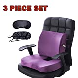 Qutool Orthopedic Memory Foam Seat Cushion and Lumbar Support Back Pillow for Lower Back Tailbone and Sciatica Relief Office Chair and Car Seat Cushion Set with Premium Adjustable Strap (Purple)