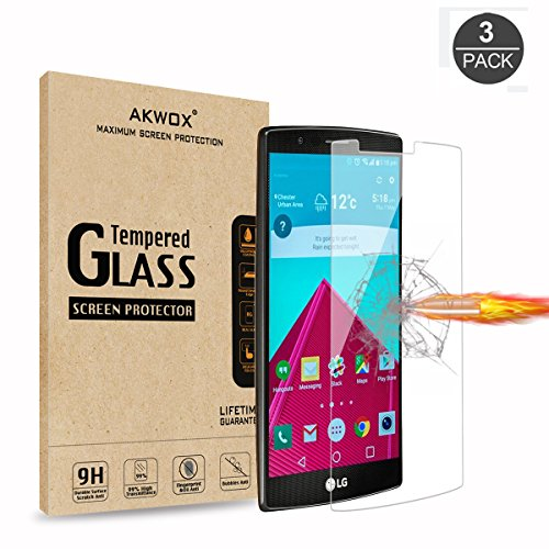 (Pack of 3) LG G4 Tempered Glass Screen Protector, Akwox 0.3mm High Definition Clear 2.5D Rounded Edge Screen Protector Film for LG G4 LGG4 - Max Clarity and Touch Accuracy Protector