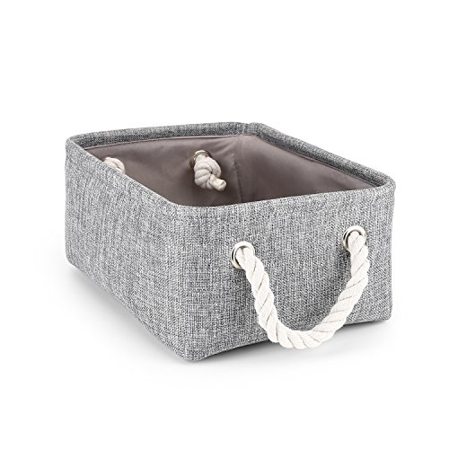 Storage Basket,Mee'life Foldable Linen Storage Bins Fabric Organizer with Handles to Organize Office Bedroom Closet Toys Laundry Gray(Small).