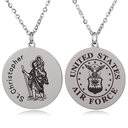 FAYERXL St Christopher Patron Saint of Travelers Marine Corps Air Force Army Navy Coast Guard Round Tag Necklace Religious Faith Gift (St Christopher Air ()