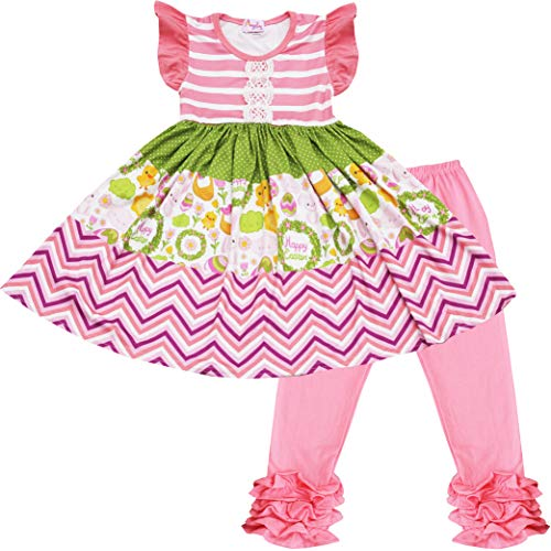 Angeline Boutique Baby Girls Happy Easter Bunny Dress Leggings Set Coral Lime Chevron 12-18M/2XS