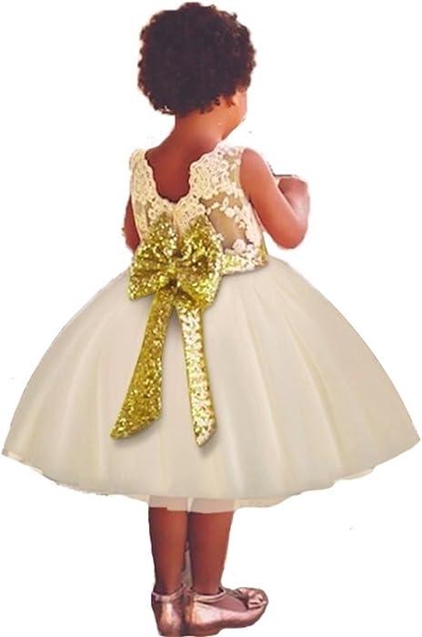 Flower Girl Dress Sequins Birthday Wedding Princess Dresses for Toddler Baby