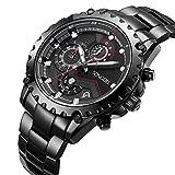 SONGDU Men's Sport Chronograph Black Quartz Watch with Stainless Steel Bracelet