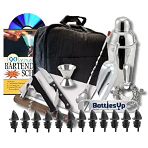 "Bartending Bar Kit with ""Training Video"", Home and Travel- 25 Pieces"