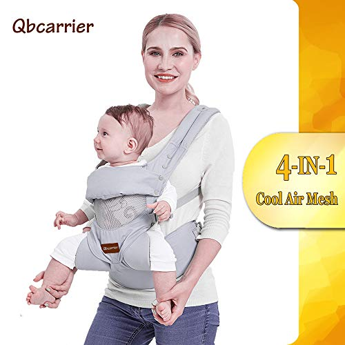Baby-Carrier-Backpack-Hip Seat-Front and Back for Newborn Essential, Toddler Warp Carrier Holder 4 in 1 Convertible Hiking Pack with Cool Air Mesh, Grey