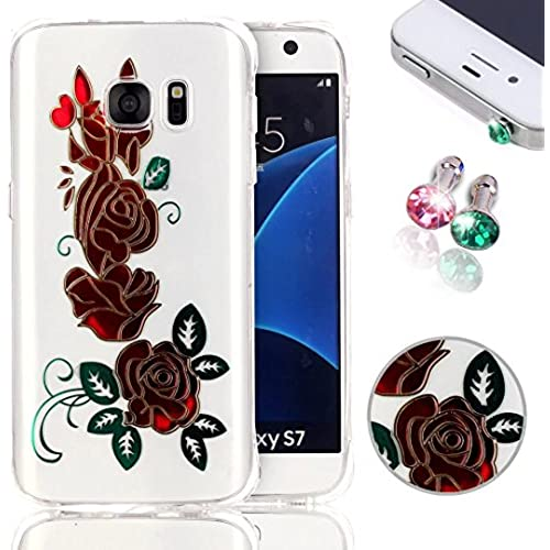 Galaxy S7 Case, Pershoo Urtra Slim Protective Slider Case for Samsung Galaxy S7, Red Rose Hot Stamping Anti-Scratch Sales