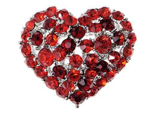 Alilang Crystal Rhinestone Valentine Heart Love Brooch Pin, Red ()