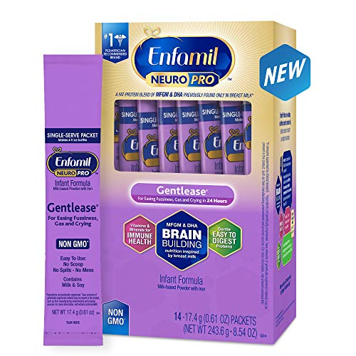 - Enfamil NeuroPro Gentlease Infant Formula - Clinically Proven to reduce fussiness, gas, crying in 24 hours - Brain Building Nutrition Inspired by breast milk - Single Serve Powder, 17.6g (14 packets)