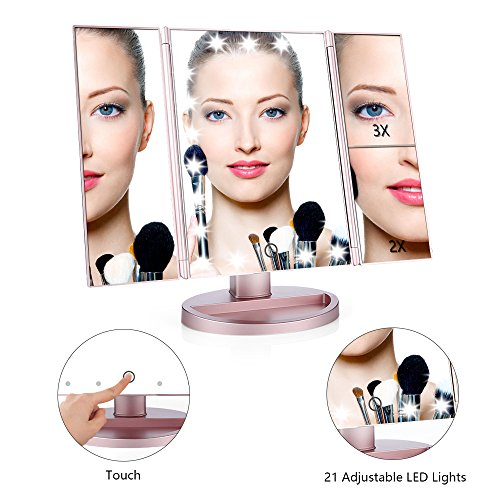 -[ Easehold 1X/2X/3X Magnifying Illuminated Vanity Mirror, 21pcs Led Lights Touch Screen Tri-fold T