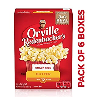 Orville Redenbacher's Butter Popcorn, 1.5 Ounce Single Serve Bag, 12-Count, Pack of 6