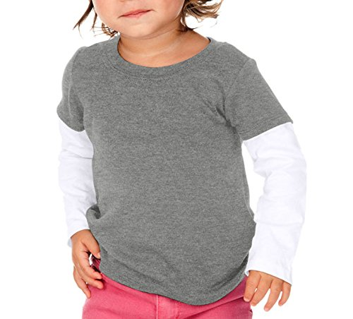 Twofer Girls Top (Kavio! Unisex Infants Two-fer Long Sleeve Top (Same I1C0303) Dark H.Gray/White 18M)