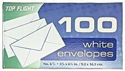 Top Flight Boxed Envelopes, 3.625 x 6.5 Inches, White, 100 Envelopes per Box (6900311)