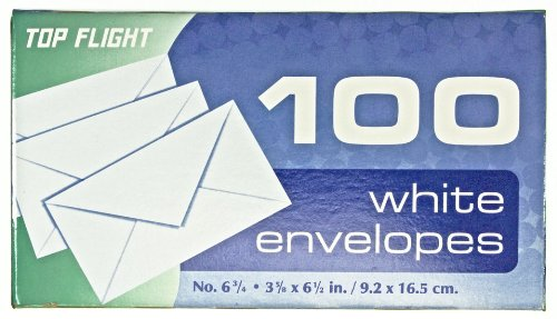 Top Flight Boxed Envelopes, 3.625 x 6.5 Inches, White, 100 Envelopes per Box (6900311)