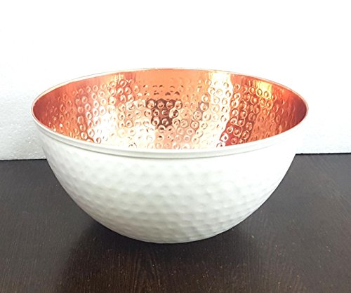 Cream Serving Bowl - Copper and White Hammered Mixing Bowl, 100% Pure Heavy Gauge - Multipurpose Use of Antique Copper Serving Bowl For Candy, Salad, Egg Beating - Decorative Copper Bowl For Your Kitchen 9.5