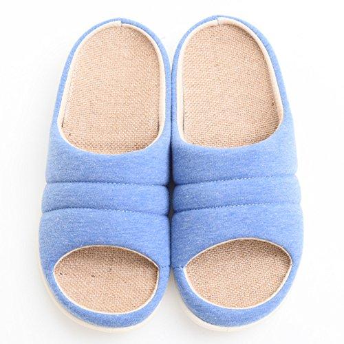 Home fankou coppie pantofole donne indoor anti-slittamento di spessore pavimento in legno muto home pantofole pantofole di cotone Uomo Inverno Primavera ,43-44, grigio