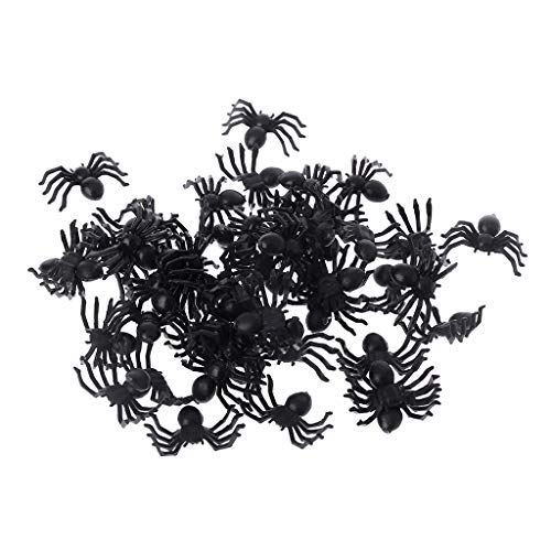 SEAyaho 50 Pieces Small Black Plastic Fake Spider Toys Funny Joke Prank Props Halloween Decor Indoor Outdoor]()