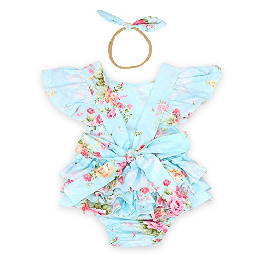 Luckikikids Baby Girls Cotton Vintage Floral Ruffle Rompers Clothing Headband Set (M/6-12M, blue1)