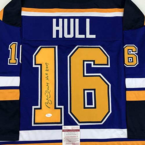 Louis Blues Mini Hockey Helmet - Autographed/Signed Brett Hull HOF 2009 St. Louis Blue Hockey Jersey JSA COA