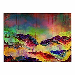"60%OFF KESS InHouse JD1162ADM02 Ebi Emporium ""It's A Rose Colored Life 4"" Yellow Red Dog Place Mat, 24"" x 15"""