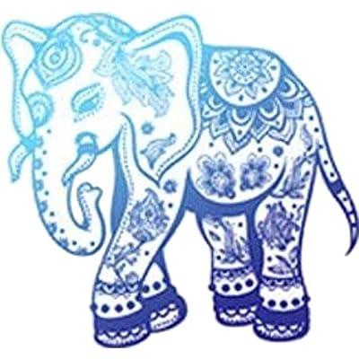 "Divine Designs Pretty Blue Ombre Zen Yogi Yoga Peace Symbol Cartoon Vinyl Decal Sticker (4"" Wide, Elephant): Automotive"
