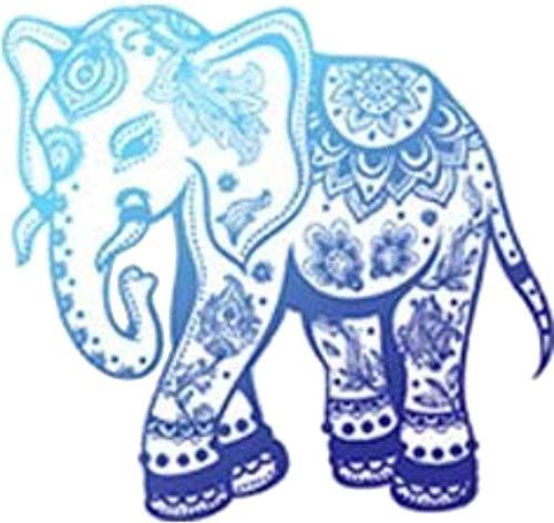"Divine Designs Pretty Blue Ombre Zen Yogi Yoga Peace Symbol Cartoon Vinyl Decal Sticker (4"" Wide, Elephant)"