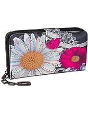 styleBREAKER Geldbörse mit Ethno Blumen und Blüten Muster, Vintage Design, Reißverschluss, Portemonnaie, Damen 02040040, Farbe:Schwarz-Weiß-Pink