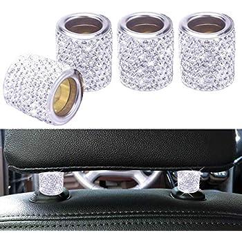 8bfdf0e53b3 FEENM Car Headrest Head Rest Collars Rings Decor Bling Bling Crystal  Diamond Ice for Car SUV Truck Interior Decoration Blings 4 Pack White