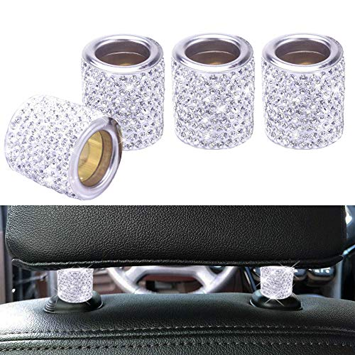 FEENM Car Headrest Head Rest Collars Rings Decor Bling Bling Crystal Diamond Ice for Car SUV Truck Interior Decoration…