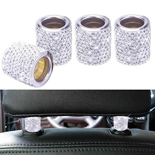 FEENM Car Headrest Head Rest Collars Rings Decor Bling Bling Crystal Diamond Ice for Car SUV Truck Interior Decoration Blings 4 Pack White (Best Luxury Car Interior)