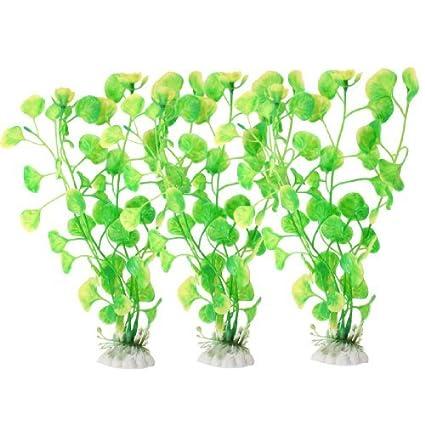 eDealMax 3 piezas Base de cerámica del acuario Plant Submarino Decoración/hierba, Verde