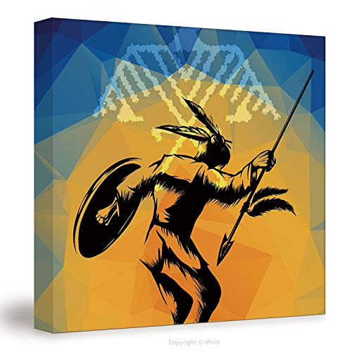 №16664 Canvas Art Wall Decor/ Native American,War Dance Ritual Against Ancient Totem Poly Effect Triangles Abstract,Pale Orange Blue / Wall Art Paintings On Canvas Stretched And Framed Ready To Hang F