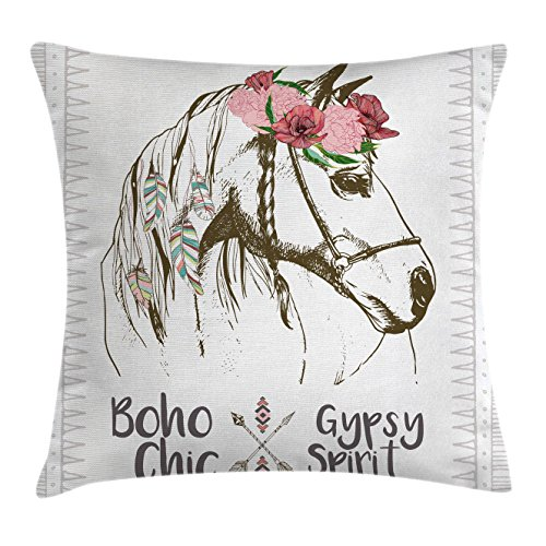 Animal Throw Pillow Cushion Cover by Ambesonne, Boho Chic Style Horse Head Sketch with Flowers Colorful Feathers Gypsy Spirit, Decorative Square Accent Pillow Case, 16 X 16 Inches, Brown Pink (Horse Throw)
