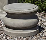 Campania International PD-78-GS Round Plain Pedestal, Low, Grey Stone Finish