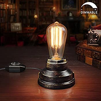 Amazon loft retro wood e27 edison table lamp cafe home bar vintage table lamp industrial wrought iron desk lamp with dimmer switch steampunk antique accent lamp with e26 edison base retro lamp holder table light aloadofball Images