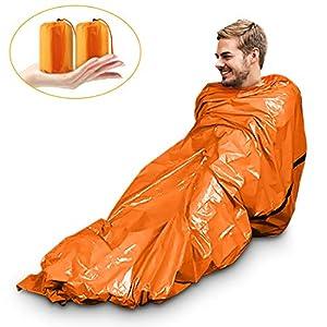 Saco de Emergencia Bivvy Albergue Saco de Dormir Supervivencia Impermeable Manta Hoja de Refugio Aislamiento Térmico… 13