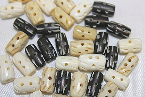 Hand Crafted Bone Beads - Unique Carved Pattern - 0.50