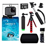 """GoPro Hero7 Silver Bundle with Handheld Monopod, 12"""" Flexi-Tripod, Float Handle, Camera Case, Memory Card Reader, Tripod Adapter, and 8GB MicroSDHC Memory Card"""