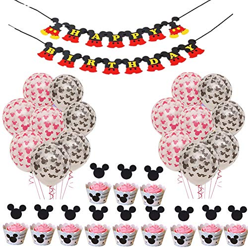 50 Pack Mickey Mouse Balloons, 12 Inch Latex Balloons for Baby Party Baby Shower Mickey Mouse Theme Party Supplies 24 pack Mickey Happy Birthday Cake Topper Cute Cupcake Decorations]()