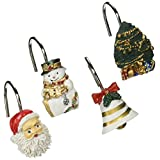 Carnation Home Fashions Christmas Time Fabric 6 by 6 Shower Curtain Hooks