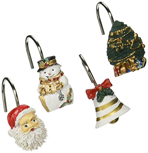 "Carnation Home Fashions ""Christmas Time Set of 12 Shower Curtain Hooks"