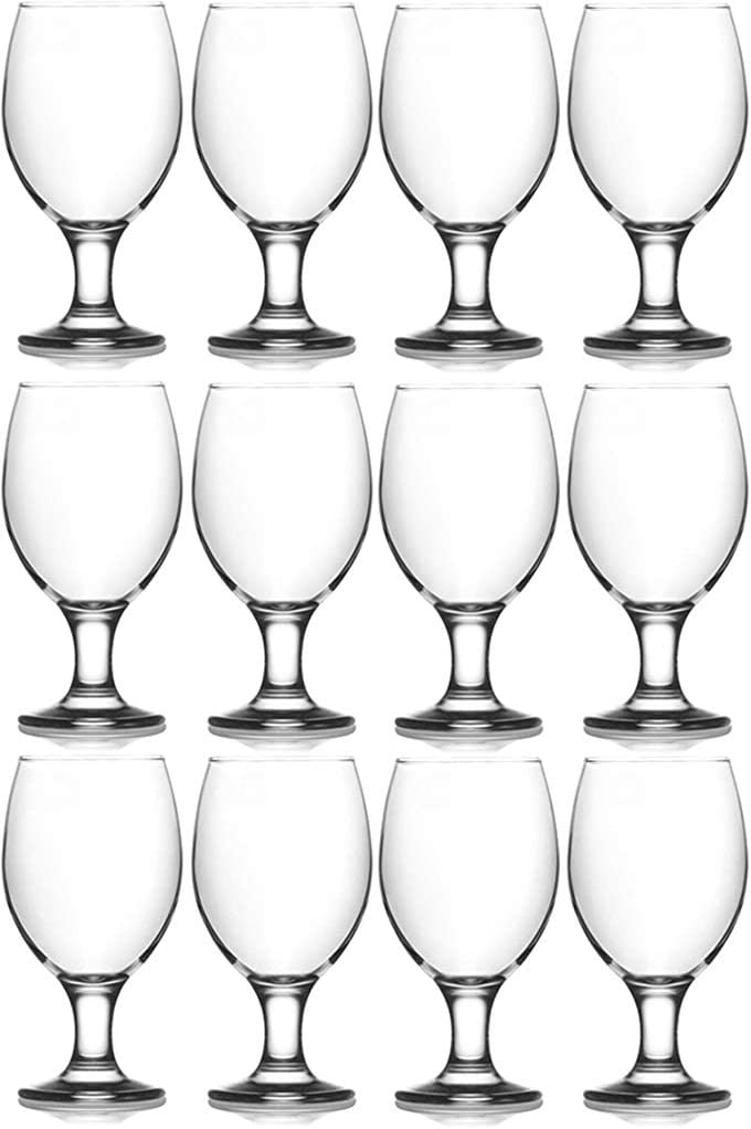 Epure Cremona Collection 12 Piece Water Goblet Glass Set - Strong Stemmed Glasses For Drinking Water, Juice, Wine, Mixed Drinks, and Cocktails (Water Goblet (13.5 oz))