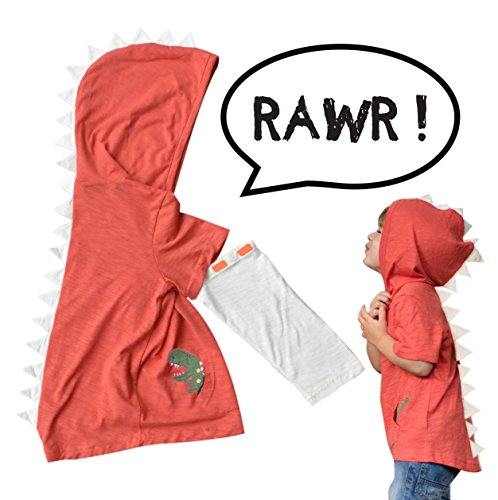 Mini Jiji Orange T-Rex Dinosaur Toddler Hoodie with Removable Sleeves for Infant Toddlers Boys Girls Unisex (Orange, 4T)