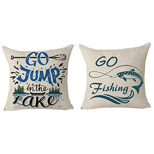 SOPARLLY Set of 2 Saying Go Jump in The Lake Go Fishing Paddle Boat Illustration Pillows Cotton Linen Decorative Home Office Throw Pillow Case Couch Cushion Cover Square 18 X 18 Inches